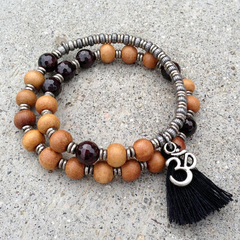 Sandalwood and garnet 27 beads mala bracelet™ wrap bracelet