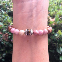 'Self Love and Healing' Rhodochrosite and Sandalwood bracelet