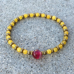 'Confidence and Grounding' Yellow Jade and Pink agate fine faceted bracelet
