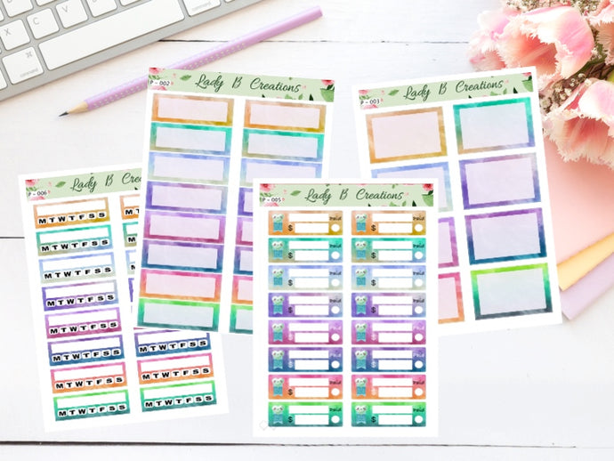 Water Colour Planner Sheets