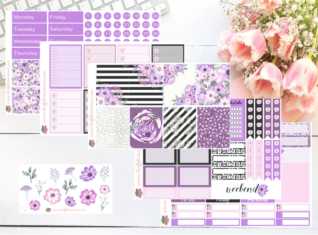 Weekly Kit - Purple Floral Flowers - A La Carte