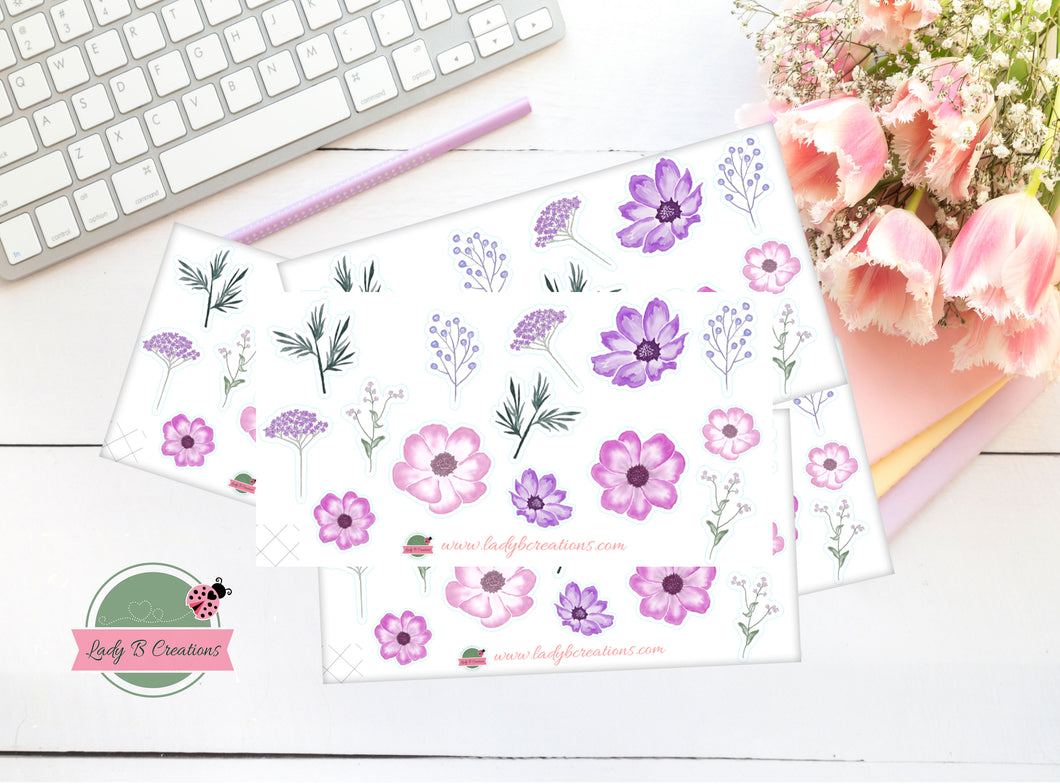 Mini Sheet (Sampler) - Purple Flowers in Spring