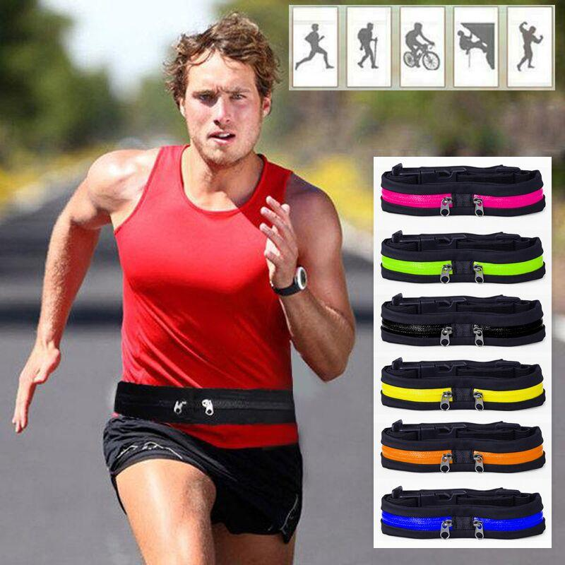 Single or Dual Pocket Running Belt with Adjustable Waist