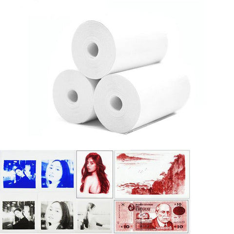 Image of Color Printing Thermal Paper.  White Paper Color Image - 3 rolls