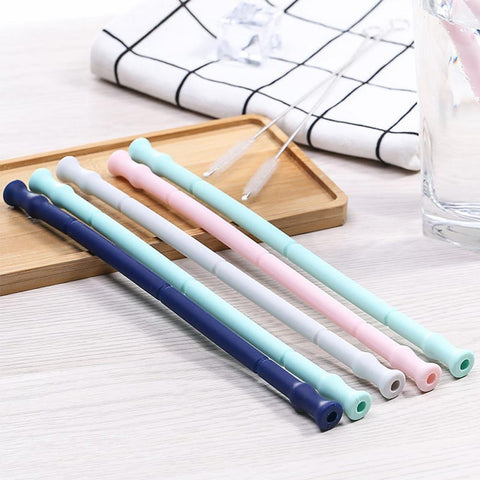 Image of Reusable Silicone Drinking Straw with Carrying Case