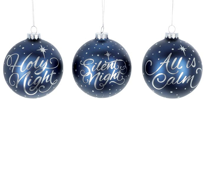 Dark Blue and Silver Glass Ornaments