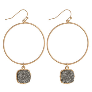 Gray Druzy Metal Earrings
