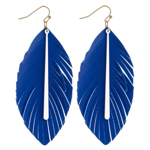 Blue Faux Leather Leafs