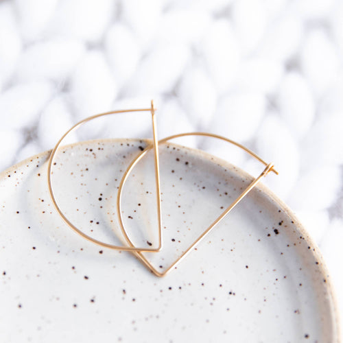Minimal Gold Hoop Earrings - Half Circle Half Moon