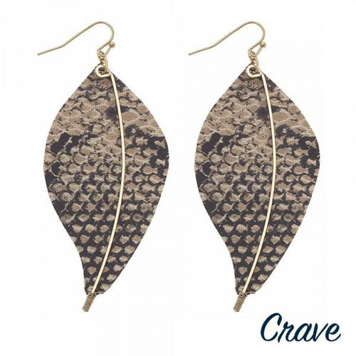 Faux Leaf Wire Earrings