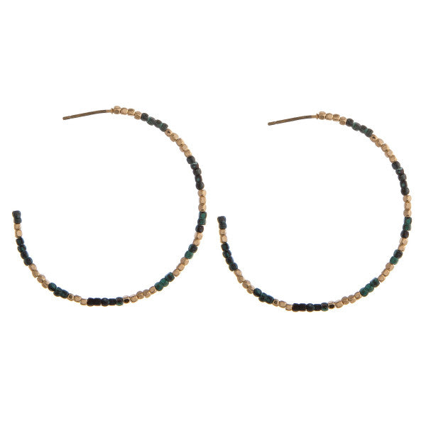 Seed Beaded Open Hoops