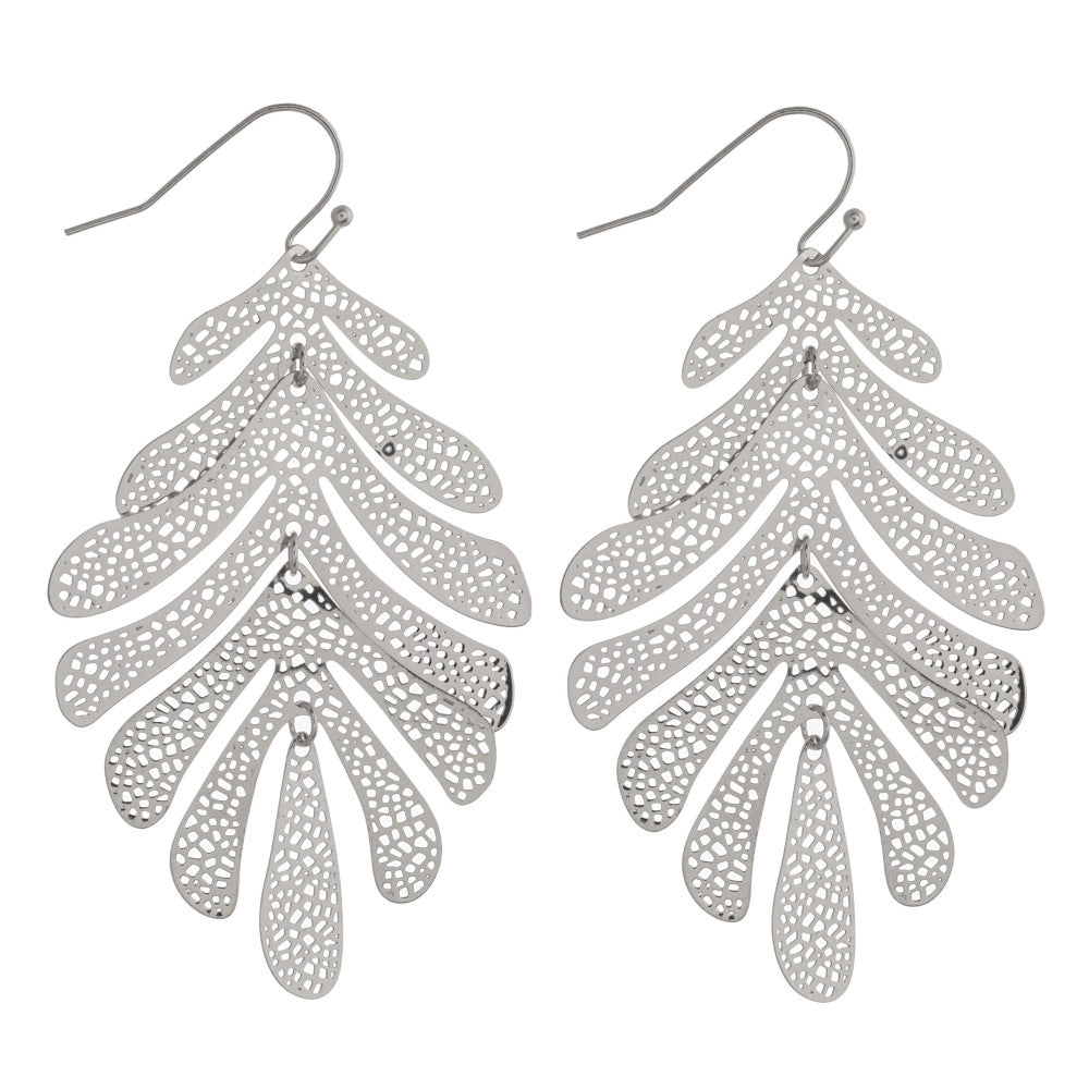 Silver Palm Leaf Dangles