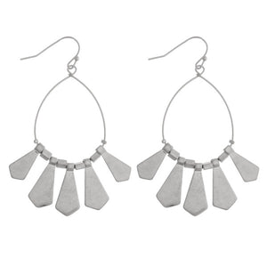 Silver Metal Tassel Drop Earrings