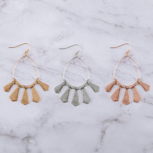 Gold Metal Tassel Drop Earrings