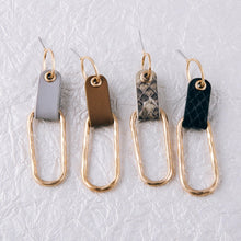 Oblong Leather Linked Earrings