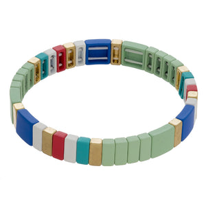 Mint Multicolored Tile Bracelet