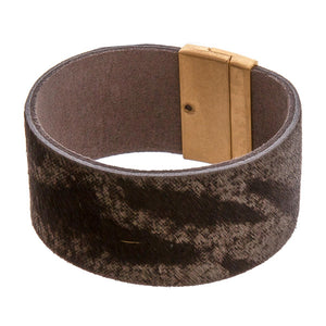 Charcoal Leather Print Cuff