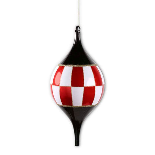 Red and White Checkered Teardrop Ornament