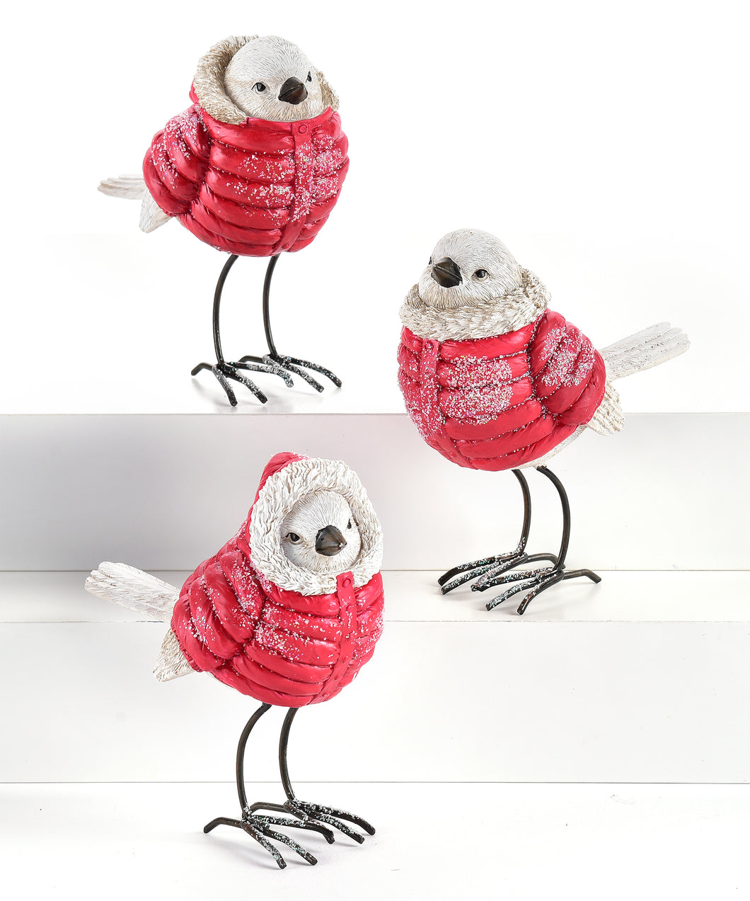 White Bird with Red Puffy Jacket