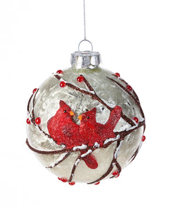 Glass Ball with Cardinals Ornament