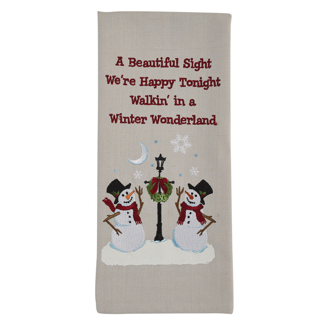 Snowmen and Lamp Post Dish Towel