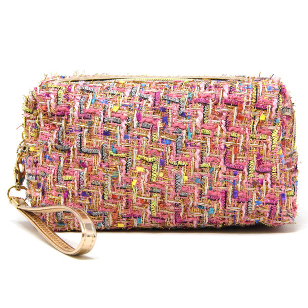Multicolored Tweed Cosmetic Bag
