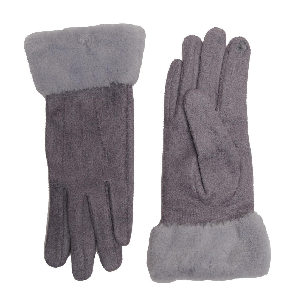 Gray Fur Touch Screen Gloves