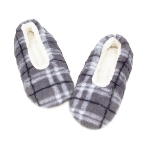 Gray Plaid Sherpa Slippers