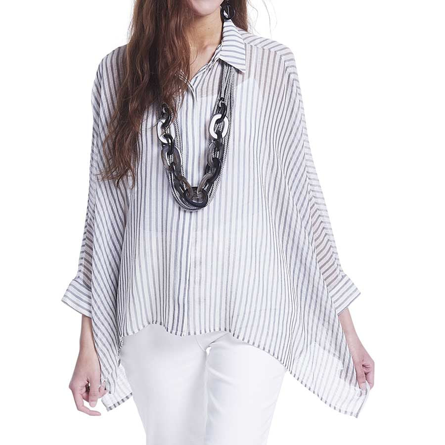 Gray and White Button Poncho