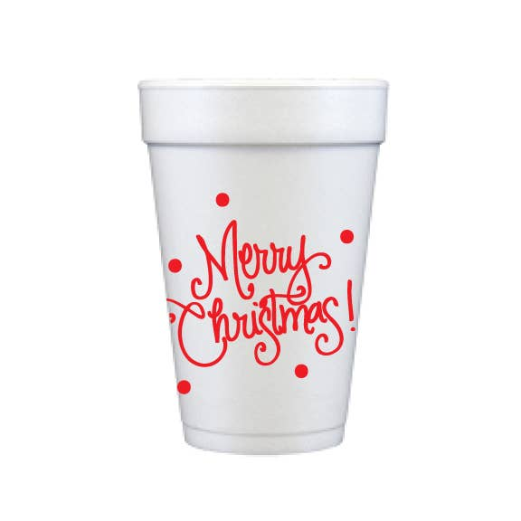 Foam Cups - Merry Christmas with Dots