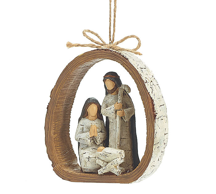 Birch Bark Ring Holy Family Ornament