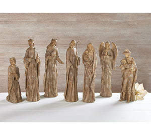 Rustic Resin Nativity Scene - 7 Piece