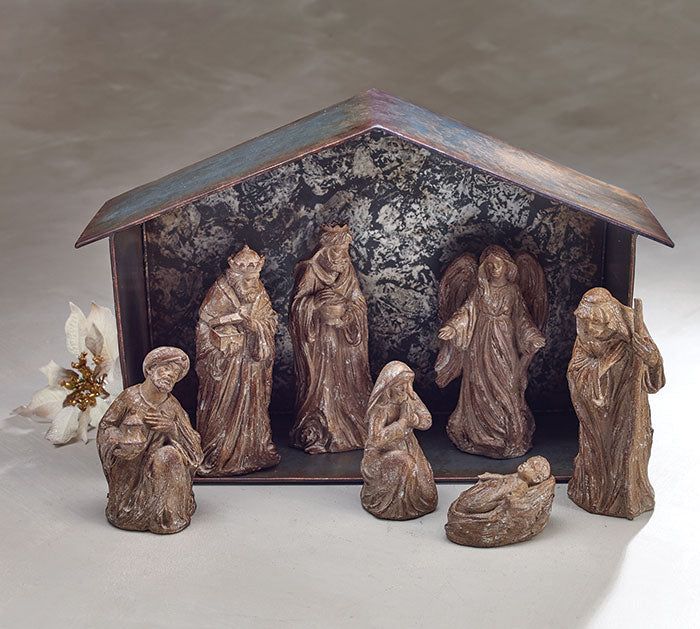 7 Piece Nativity with Creche