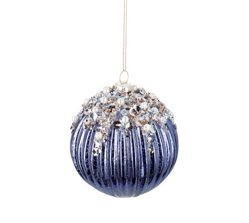 Blue Glass Sequined Ornament