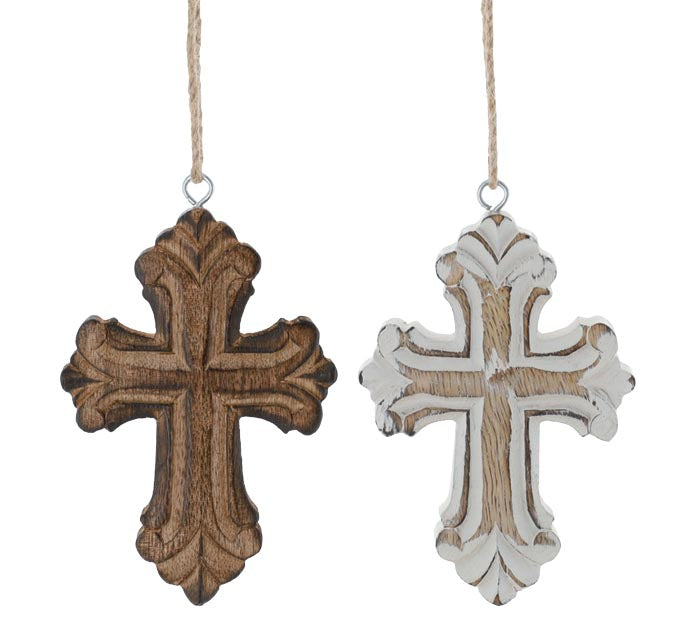 Wood Cross Christmas Ornament