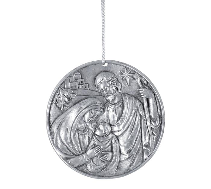 Holy Family Silver Carved Disc Ornament