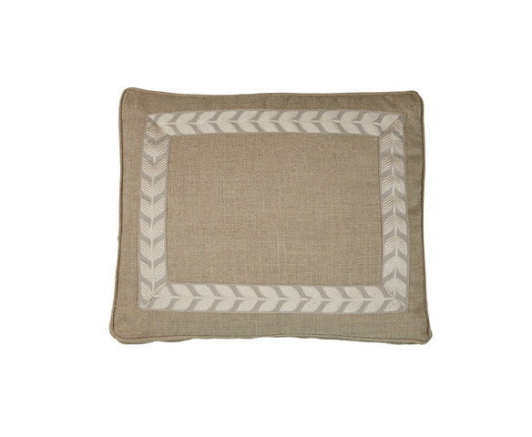 Nubby Natural with Taupe Leaf Box Pillow