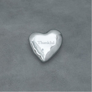 "Giftables Engraved Heart Paperweight - ""Thankful"""
