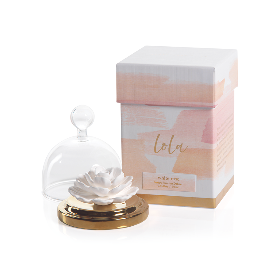 Lola Porcelain Diffuser in White Rose