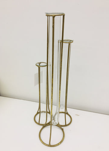 Tri Gold Metal Glass Vases
