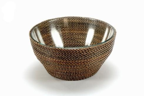 Basket with Glass Bowl 4QT