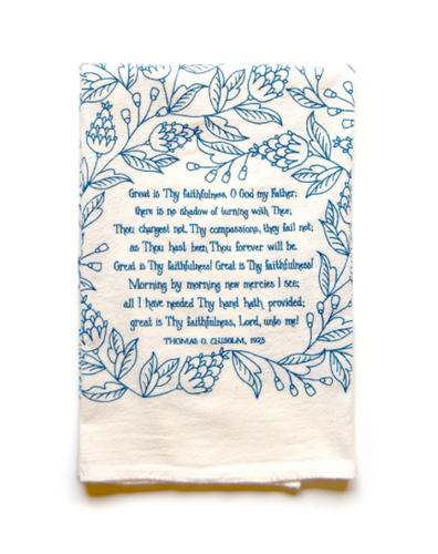 Great is Thy Faithfulness- Little Things Hymn Tea Towel