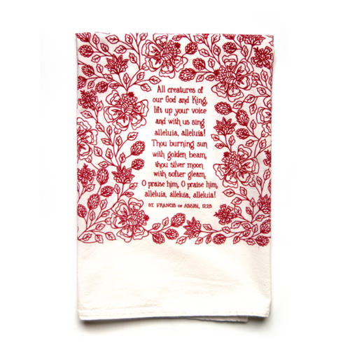 All Creatures of Our God and King- Little Things Hymn Tea Towel