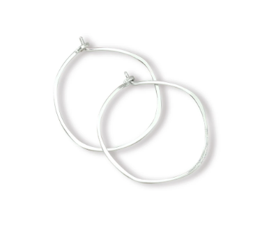 Minimal Hoop Earrings - Silver Small Organic Circle
