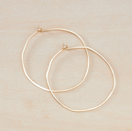 Minimal Hoop Earrings - Gold Large Organic Circle