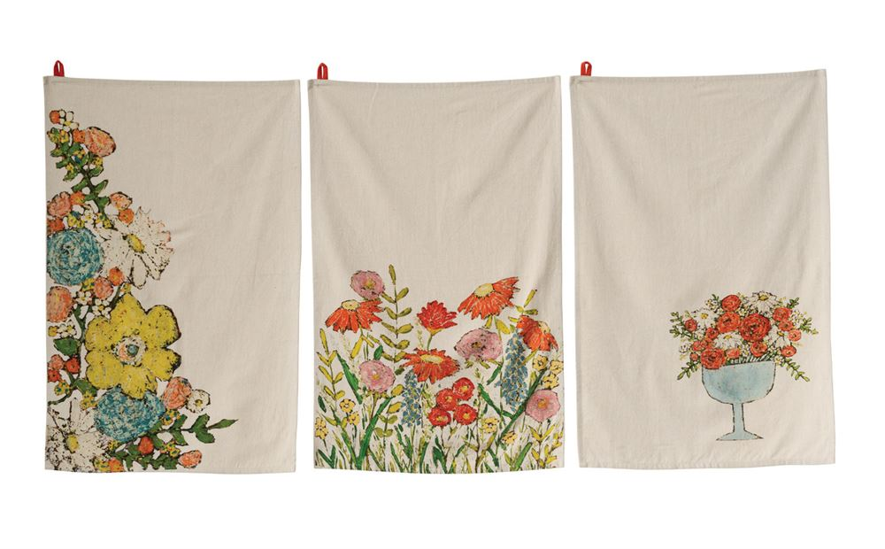 Cotton Floral Tea Towel