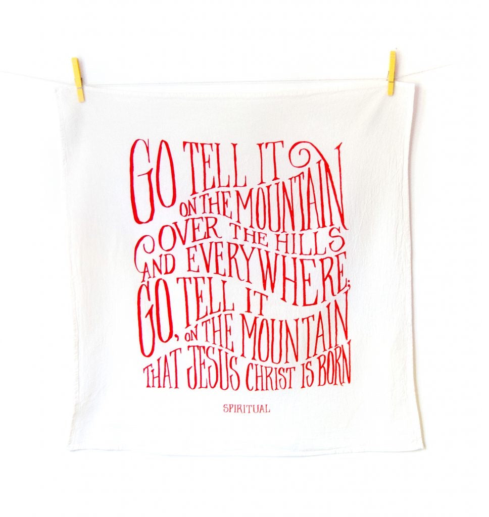 Go, Tell it on the Mountain- Little Things Christmas Hymn Tea Towel