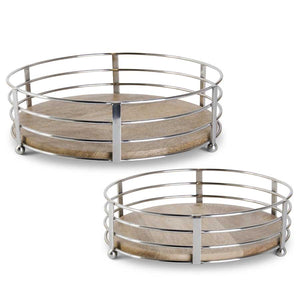 Wood and metal wire trays