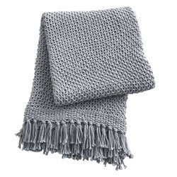 Open Knit Throw Gray