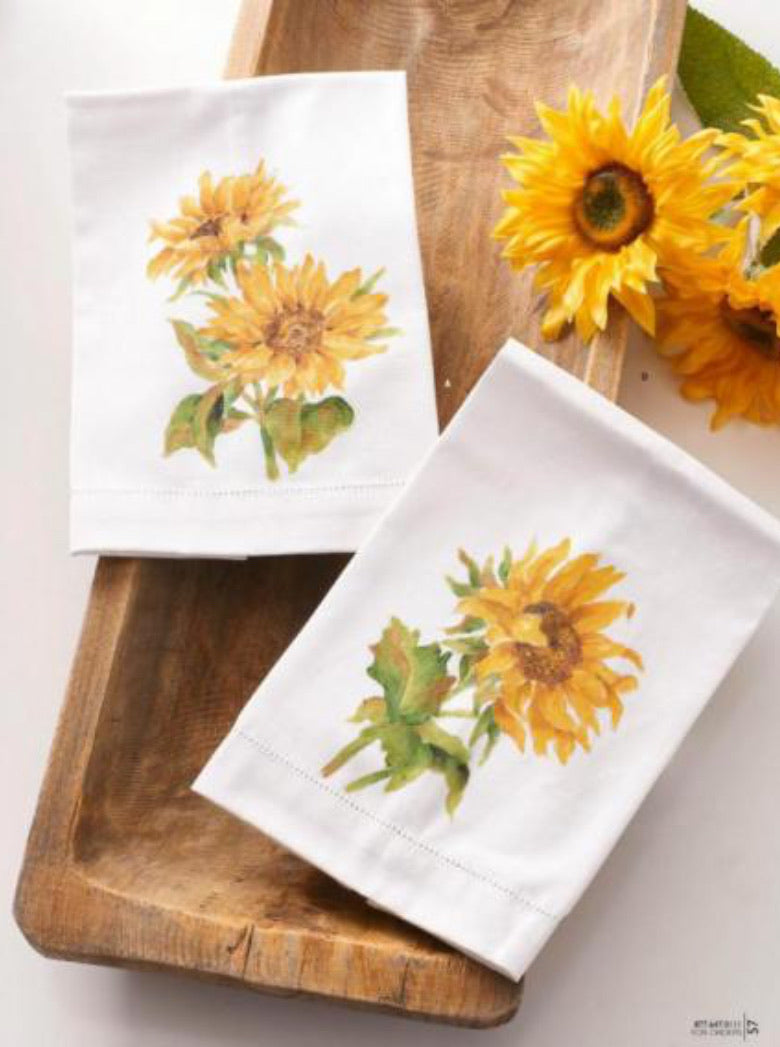 Handpainted sunflower guest towel